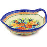 10-inch Stoneware Bowl with Handles - Polmedia Polish Pottery H5042F