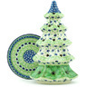 10-inch Stoneware Christmas Tree Candle Holder - Polmedia Polish Pottery H9105H