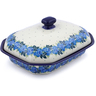 10-inch Stoneware Dish with Cover - Polmedia Polish Pottery H2859J