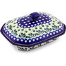 10-inch Stoneware Dish with Cover - Polmedia Polish Pottery H4214G