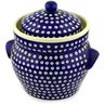 10-inch Stoneware Jar with Lid and Handles - Polmedia Polish Pottery H0777D