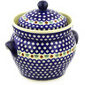 10-inch Stoneware Jar with Lid and Handles - Polmedia Polish Pottery H0923F