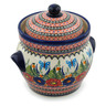 10-inch Stoneware Jar with Lid and Handles - Polmedia Polish Pottery H3811C