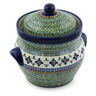 10-inch Stoneware Jar with Lid and Handles - Polmedia Polish Pottery H3814C