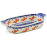 10-inch Stoneware Rectangular Baker with Handles - Polmedia Polish Pottery H0798K