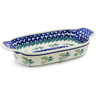 10-inch Stoneware Rectangular Baker with Handles - Polmedia Polish Pottery H0799K