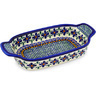 10-inch Stoneware Rectangular Baker with Handles - Polmedia Polish Pottery H0881D