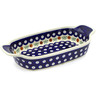10-inch Stoneware Rectangular Baker with Handles - Polmedia Polish Pottery H7651C