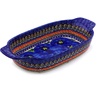 10-inch Stoneware Rectangular Baker with Handles - Polmedia Polish Pottery H8745B