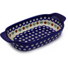 10-inch Stoneware Rectangular Baker with Handles - Polmedia Polish Pottery H8756B