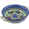 10-inch Stoneware Round Baker with Handles - Polmedia Polish Pottery H1053H