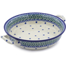 10-inch Stoneware Round Baker with Handles - Polmedia Polish Pottery H3078B