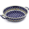 10-inch Stoneware Round Baker with Handles - Polmedia Polish Pottery H6570B
