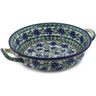 10-inch Stoneware Round Baker with Handles - Polmedia Polish Pottery H8568B