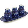 10-inch Stoneware Salt and Pepper with Toothpick Holder - Polmedia Polish Pottery H4561B