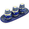 10-inch Stoneware Salt and Pepper with Toothpick Holder - Polmedia Polish Pottery H6621D