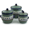10-inch Stoneware Set of 3 Jars - Polmedia Polish Pottery H5338I