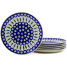 10-inch Stoneware Set of 6 Dinner Plates - Polmedia Polish Pottery H7265E