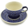 10 oz Stoneware Cup with Saucer - Polmedia Polish Pottery H0385A