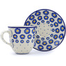 10 oz Stoneware Cup with Saucer - Polmedia Polish Pottery H0445J