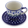 10 oz Stoneware Cup with Saucer - Polmedia Polish Pottery H2868J