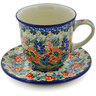 10 oz Stoneware Cup with Saucer - Polmedia Polish Pottery H8327J