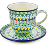 10 oz Stoneware Cup with Saucer - Polmedia Polish Pottery H8332J