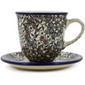 10 oz Stoneware Cup with Saucer - Polmedia Polish Pottery H8333J