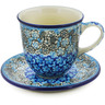 10 oz Stoneware Cup with Saucer - Polmedia Polish Pottery H8334J