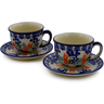 10 oz Stoneware Set of 2 Cups with Saucers - Polmedia Polish Pottery H1559K