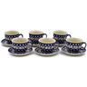 10 oz Stoneware Set of 6 Cups with Saucers - Polmedia Polish Pottery H0007K