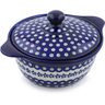 11-inch Stoneware Baker with Cover with Handles - Polmedia Polish Pottery H5968I