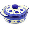 11-inch Stoneware Baker with Cover with Handles - Polmedia Polish Pottery H6661F