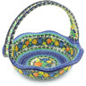 11-inch Stoneware Basket with Handle - Polmedia Polish Pottery H8490F