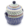 11-inch Stoneware Jar with Lid and Handles - Polmedia Polish Pottery H3087I
