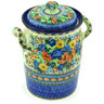 11-inch Stoneware Jar with Lid and Handles - Polmedia Polish Pottery H3776G