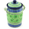 11-inch Stoneware Jar with Lid and Handles - Polmedia Polish Pottery H3778G