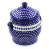 11-inch Stoneware Jar with Lid and Handles - Polmedia Polish Pottery H3805C