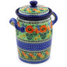 11-inch Stoneware Jar with Lid and Handles - Polmedia Polish Pottery H3968E