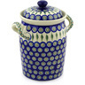 11-inch Stoneware Jar with Lid and Handles - Polmedia Polish Pottery H4167F