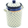 11-inch Stoneware Jar with Lid and Handles - Polmedia Polish Pottery H5305H