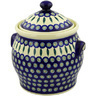 11-inch Stoneware Jar with Lid and Handles - Polmedia Polish Pottery H5584D