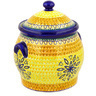 11-inch Stoneware Jar with Lid and Handles - Polmedia Polish Pottery H6984D