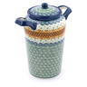 11-inch Stoneware Jar with Lid and Handles - Polmedia Polish Pottery H8279C