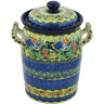 11-inch Stoneware Jar with Lid and Handles - Polmedia Polish Pottery H8291G