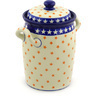 11-inch Stoneware Jar with Lid and Handles - Polmedia Polish Pottery H8531F