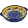 11-inch Stoneware Pie Dish Fluted with Handles - Polmedia Polish Pottery H9971J