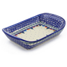 11-inch Stoneware Platter with Handles - Polmedia Polish Pottery H1030F