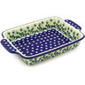 11-inch Stoneware Rectangular Baker with Handles - Polmedia Polish Pottery H7262F