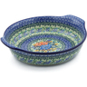 11-inch Stoneware Round Baker with Handles - Polmedia Polish Pottery H6187D